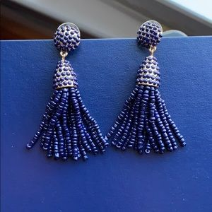 Navy beaded tassel drop earrings
